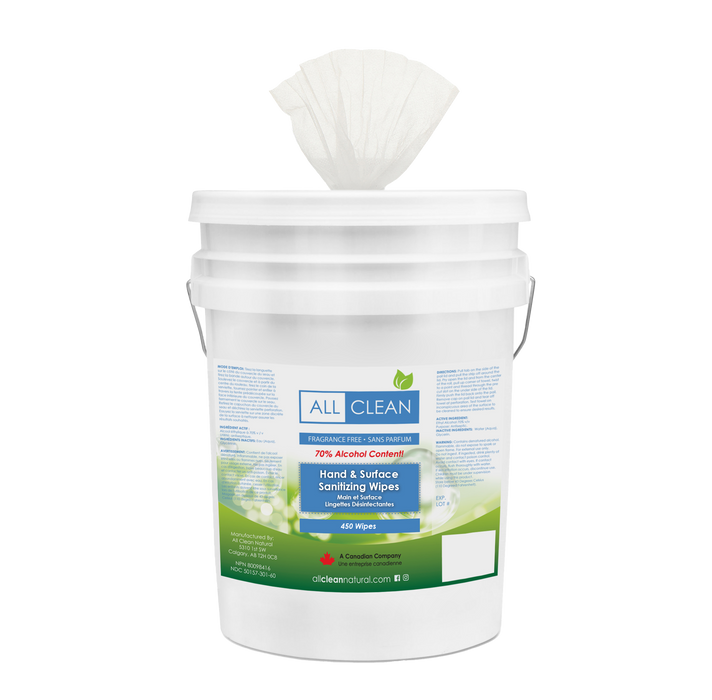 Surface & Hand Sanitizing Wipes - Pail of 450