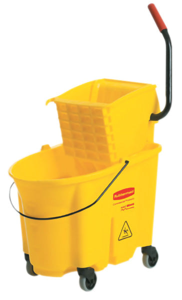 RUBBERMAID 7580-88 WAVEBRAKE 35qt BUCKET w/SIDEPRESS WRINGER – Yellow