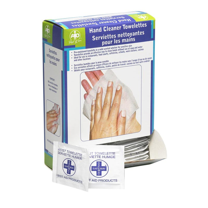 WASIP SAFEWAY HAND CLEANER TOWELETTES, 100/BOX (12 BOXES/CASE)