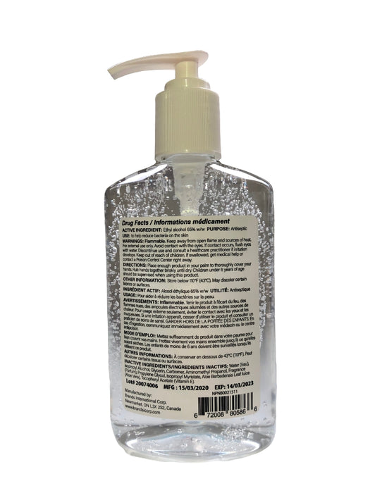 Germs Be Gone hand sanitizer gel 236ml bottle with pump top back label made in Canada drug facts NPN