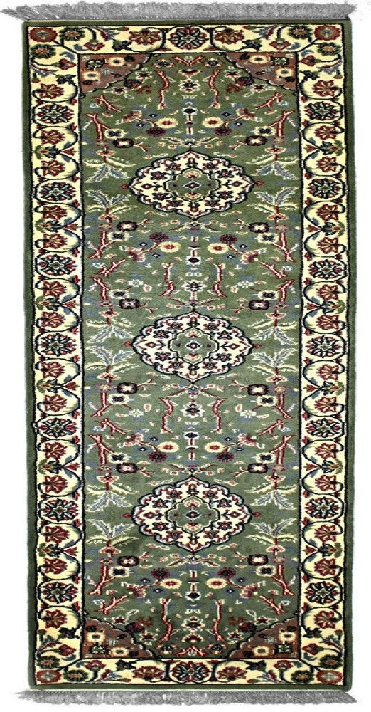 INDO - E001, KASHAN, Teal / Ivory (Runner) , Area Rugs, Discount Rugs, Cheap Rugs