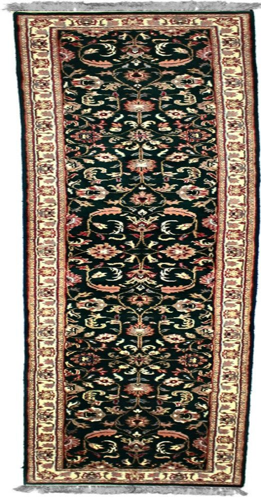 INDO - E001, KASHAN, Dark Green / Ivory (Runner) , Area Rugs, Discount Rugs, Cheap Rugs