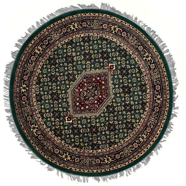 INDO, BIJAR, Green (Round) , Area Rugs, Discount Rugs, Cheap Rugs, Round Rugs