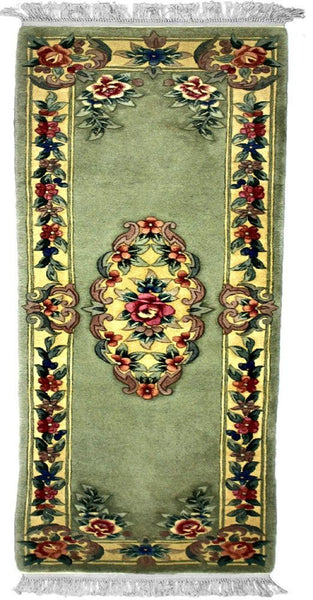 90 L, AUBUSSON, Light Green / Ivory (Runner) , Area Rugs, Discount Rugs, Cheap Rugs