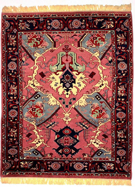 INDO - M001, TABRIZ, Rose / Navy (Rectangle) , Area Rugs, Discount Rugs, Cheap Rugs