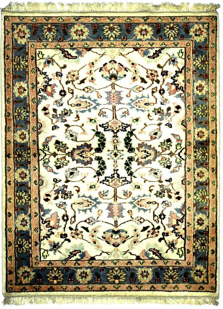 INDO - F001, KASHAN, Ivory / Light Blue (Rectangle) , Area Rugs, Discount Rugs, Cheap Rugs