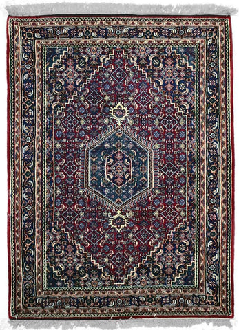 INDO - K001, B-411, Dark Red / Navy (Rectangle) , Area Rugs, Discount Rugs, Cheap Rugs