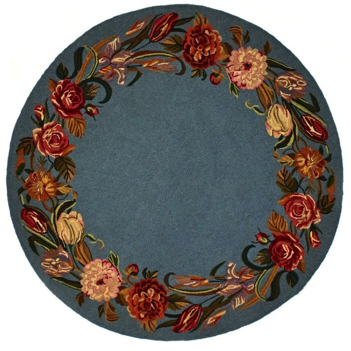 Oval Garden, H549, Blue (Round) , Area Rugs, Discount Rugs, Cheap Rugs, Round Rugs