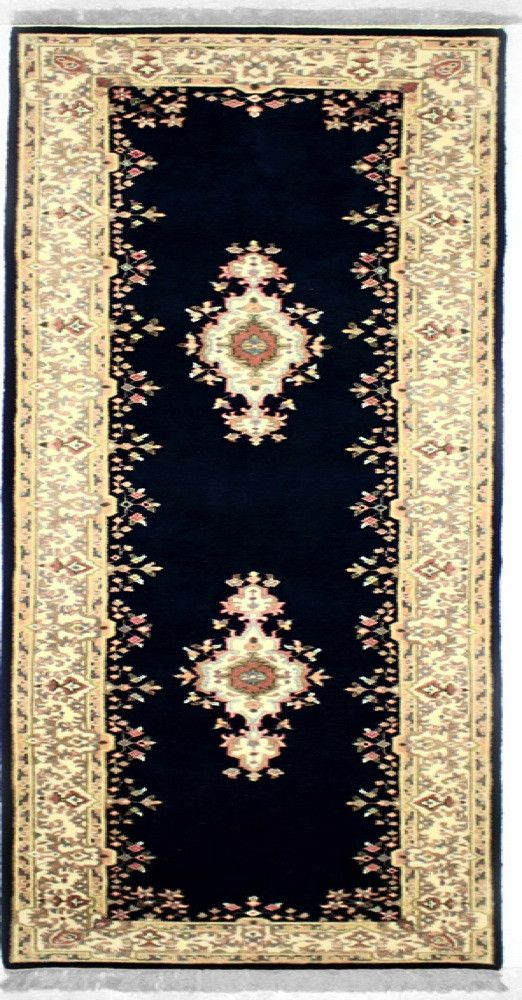INDO - M001, KERMAN, Navy / Ivory (Runner) , Area Rugs, Discount Rugs, Cheap Rugs
