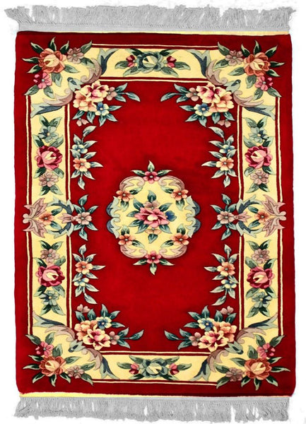 90 L, AUBUSSON, Red / Black (Rectangle) , Area Rugs, Discount Rugs, Cheap Rugs