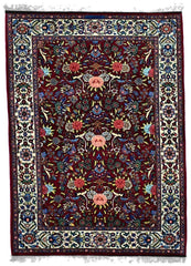 50 Raj Silk - N001, KASHAN, Burgundy / Ivory (Rectangle) , Area Rugs, Discount Rugs, Cheap Rugs