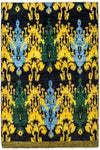"Ikat, Black Wool Area Rug - 5' 0"" x 8' 3"""