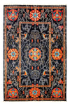 "Suzani, Black Wool Area Rug - 5' 2"" x 7' 10"""