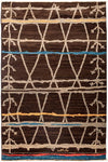 "Moroccan, Brown Wool Area Rug - 5' 1"" x 8' 2"""