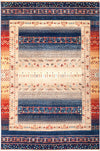 "Tribal, 8x10 Blue Wool Area Rug - 6' 6"" x 9' 9"""