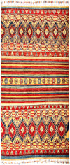 "Tribal, 5x8 Red Wool Area Rug - 5' 2"" x 6' 10"""