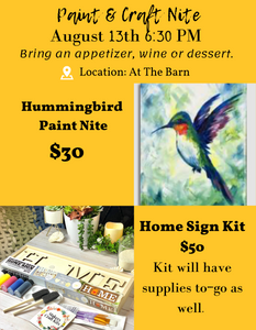 Sues Barn Paint & Craft Nite Party 6:30 PM