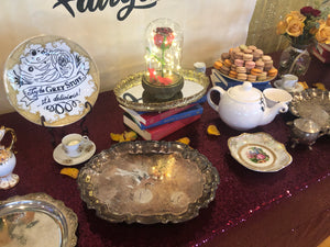 Beauty and the Beast Party Decoration: Silver Footed Platter