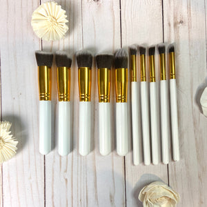 Pack of 10 Makeup Brushes (White & Gold)