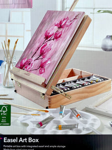 Limited Edition -52 Piece Art Wood Easel Art Box Set & 2 Paint Nite Classes