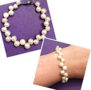 Handmade Bracelet with Freshwater Pearls and Wellness Stones
