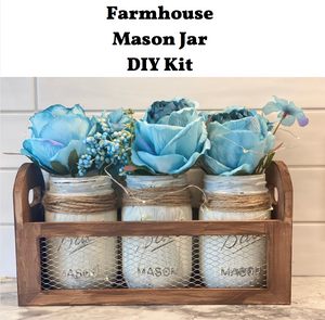 Farmhouse Mason Jar Centerpiece with Silk Flowers DIY Kit