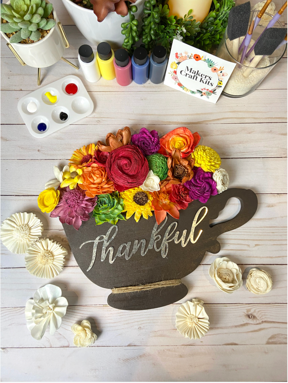 Sola Wood Flower Tea Cup and Fall Theme