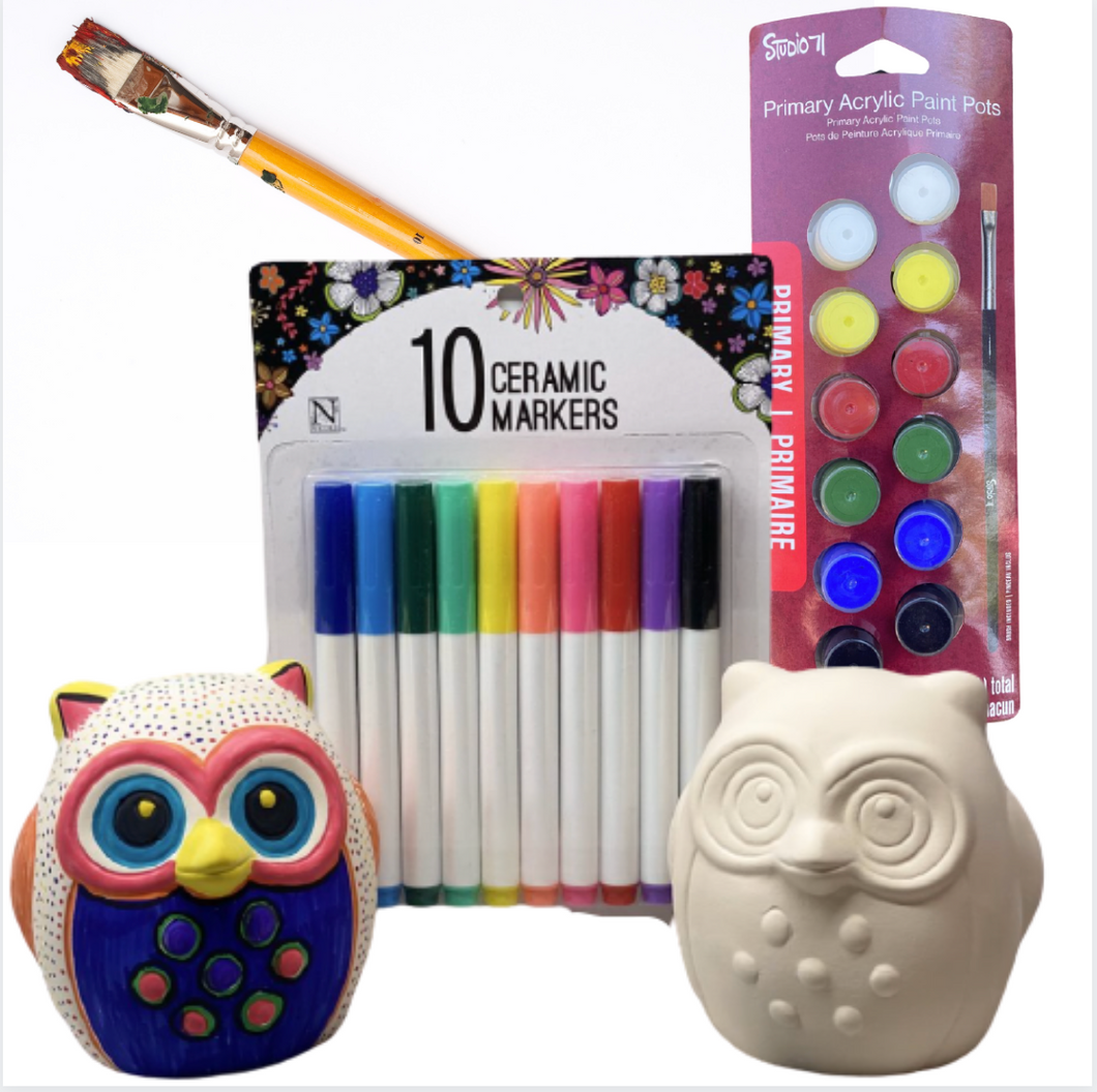 Ceramic Owl Set of 2 with Ceramic Markers, Paint and Brush- SHIPS PRIORITY
