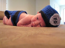 Load image into Gallery viewer, New Born Baby Police Outfit Hand Crocheted