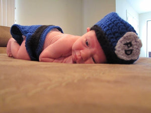 New Born Baby Police Outfit Hand Crocheted