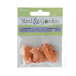 Yard And Garden Minis - Pigs - Resin - 1.4 X 1 Inches - 3 Pieces