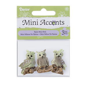 Yard And Garden Minis - Owls - Resin - 1.25 Inches - 3 Pieces