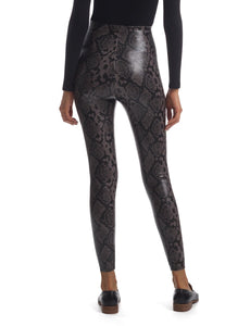 Faux Leather Animal Legging