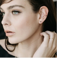 Bar Dash Gold Pave Stud Earrings
