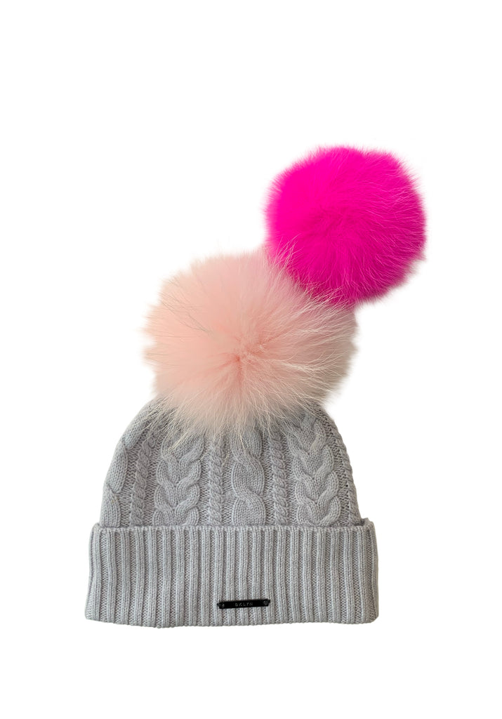 Light Grey And Pink Bobble Hat