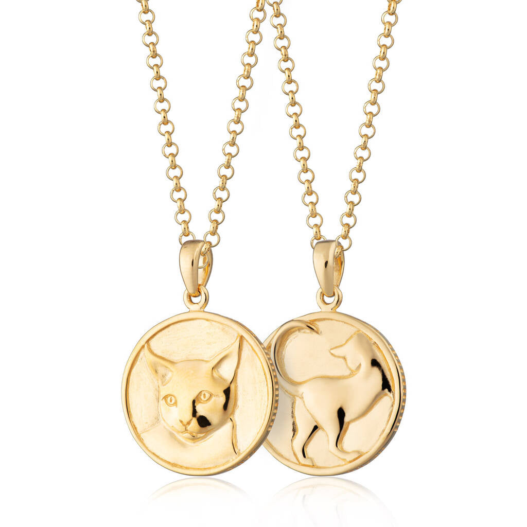 Gold Plated Cat Heads and Tails Necklace