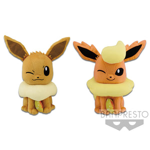 "Pokemon Eevee and Flareon Evolution Fire Stone ""Focus"" series Plush"
