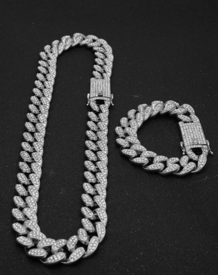 10x Iced Cuban Link Bracelet + Chain Sets