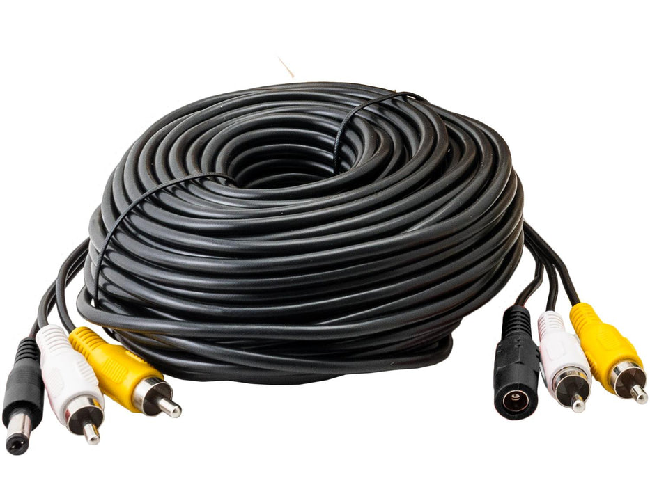 30 Metre 3 Way Cable for CCTV with Power, Audio, Video RCA Connectors - SpyCameraCCTV