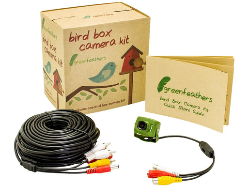 Green Feathers Bird Box Camera with Night Vision & 20m Cable - SpyCameraCCTV