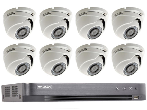 8 Dome Camera Hikvision TVI 1080p HD CCTV System with 20m IR, PoC DVR - SpyCameraCCTV