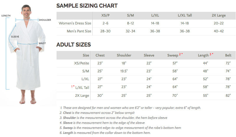 Men's Bathrobe Size Chart