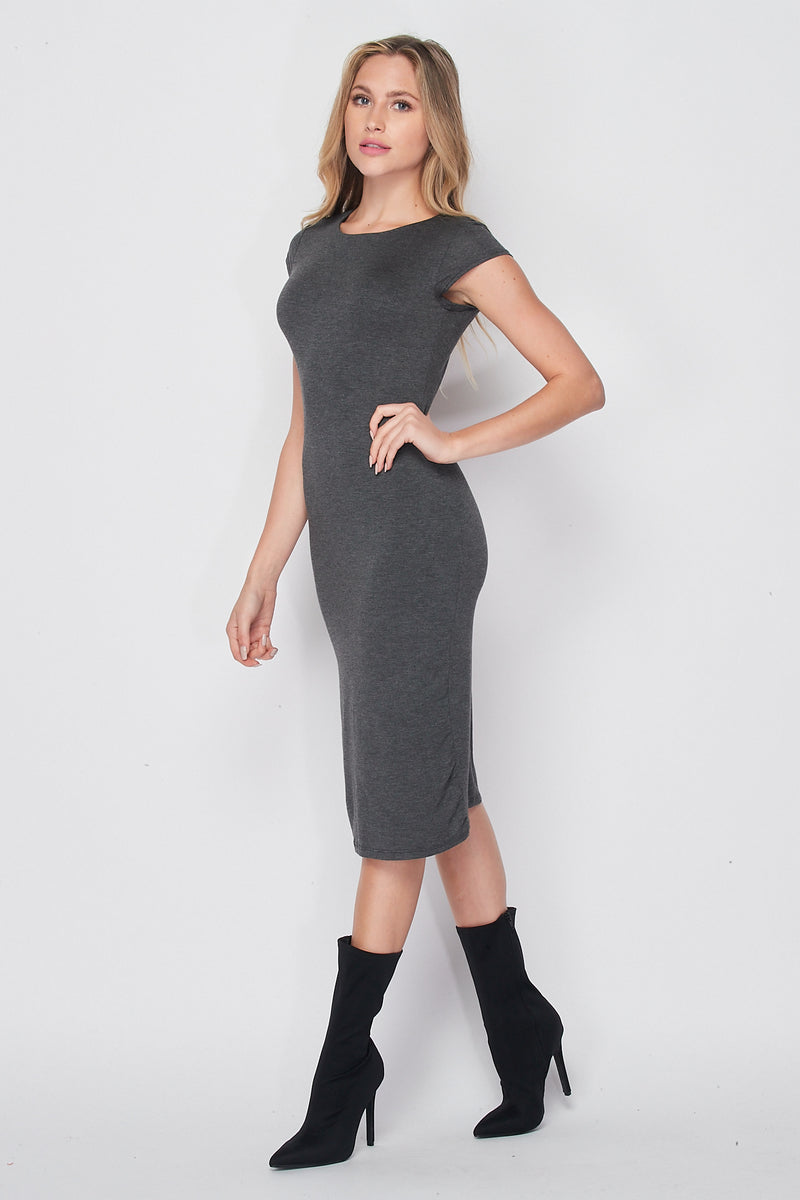 Cap Sleeve Fitted Knit Midi Dress | Charcoal - Velvet Torch
