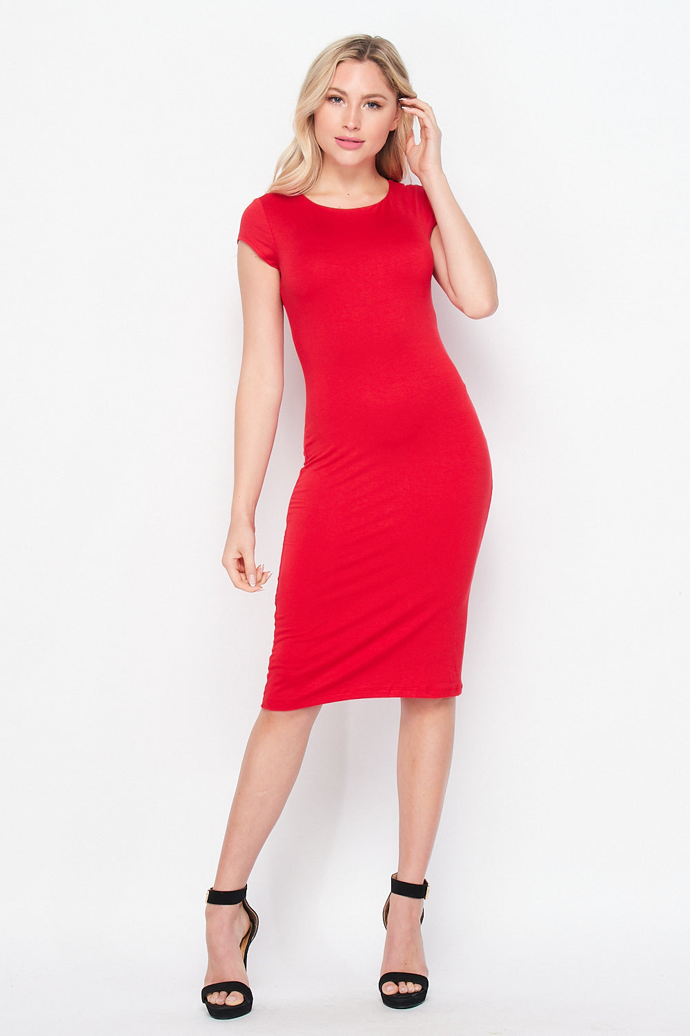 Cap Sleeve Fitted Knit Midi Dress | Red - Velvet Torch