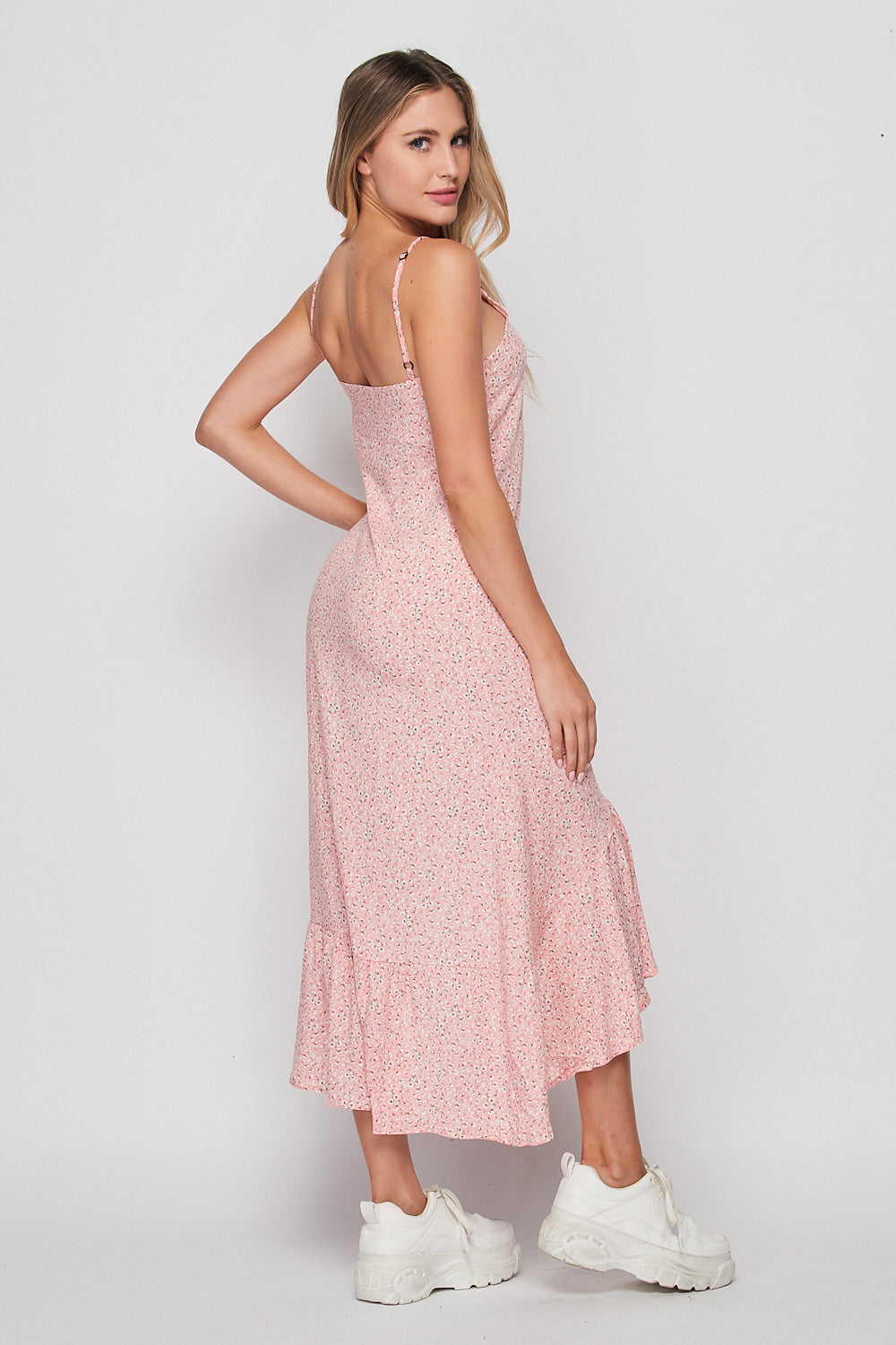 Floral Print High Low Maxi Dress Pink - Velvet Torch