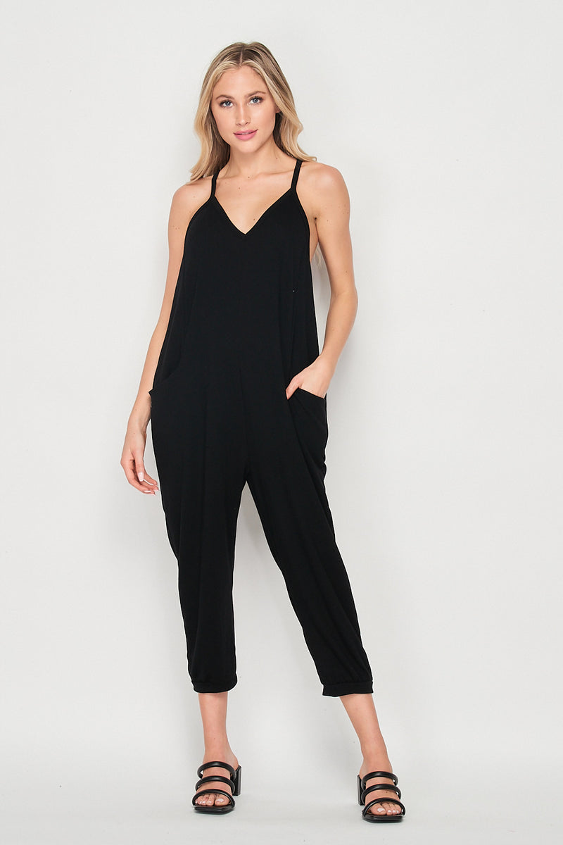 Out And About Knit Jumpsuit w/Pockets | Black - Velvet Torch