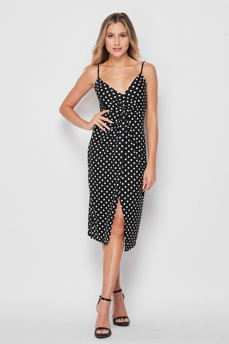 Finley Spaghetti Strap Twist Knit Dress | Black/White Dot - Velvet Torch