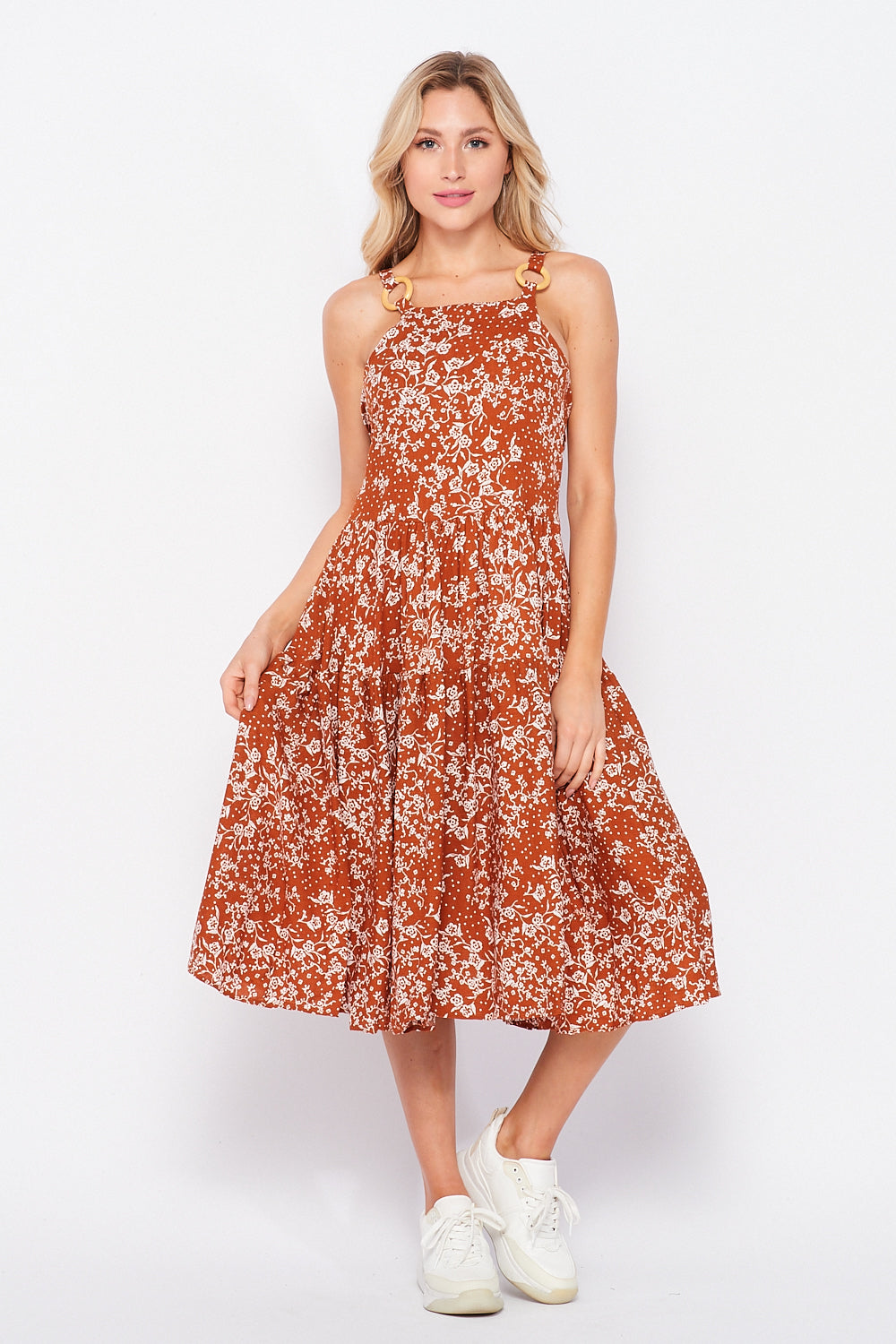 Athena Open Back Dress | Rust Floral - Velvet Torch
