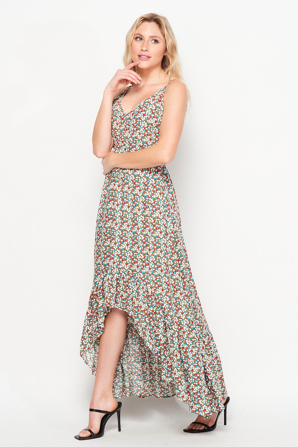 Sunrise Soul High Low Ruffle Maxi Dress | Sage Ditsy - Velvet Torch