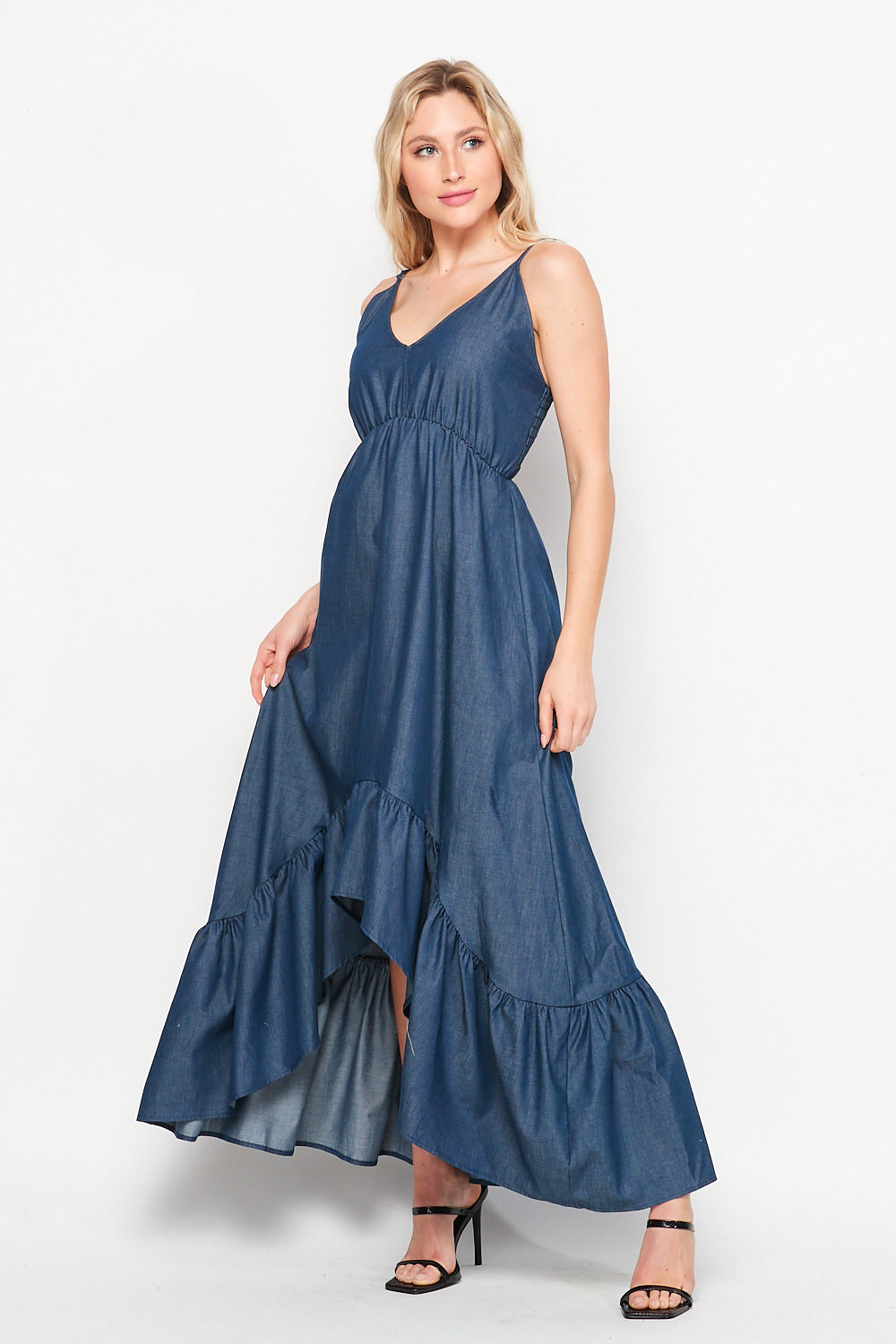 Sunrise Soul High Low Ruffle Maxi Dress | Denim - Velvet Torch